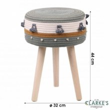 Natural Living - Cotton Rope Footstool Green