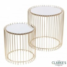 Mirrored Wire Side Tables Gold Set of 2
