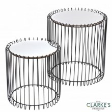 Mirrored Wire Side Tables Black Set of 2