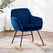 Frankie blue velvet rocking chair