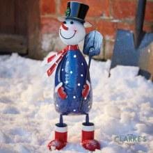 Polka Frosty Snowman Christmas Figure 43cm