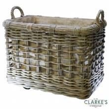 Glenweave Square Rattan Log Basket Large with Wheels