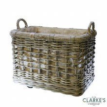 Glenweave Square Rattan Log Basket Medium with Wheels