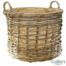 Glenweave Round Rattan Log Basket Large with Wheels