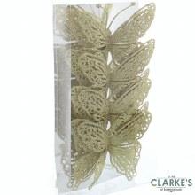 Gold Glitter Butterflies Christmas Decorations 15cm Pack of 4