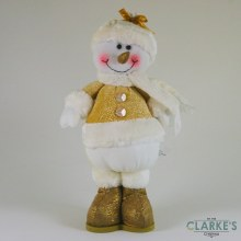 Standing Gold Plush Snowman 35cm