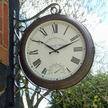 Greenwich Station Wall Clock with Thermometer 15in