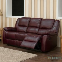 Harvey leather 3 seater sofa wine. Display Model