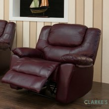 Harvey leather 1 seater recliner wine. Display Model