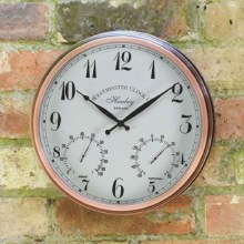 Henley Garden Wall Clock with Thermometer 12in