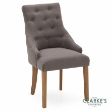 Hobbs Grey Linen Dining Chair, Natural Legs