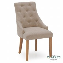 Hobbs Beige Linen Dining Chair, Natural Legs