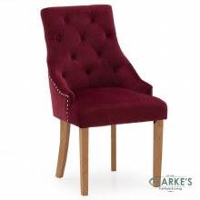 Hobbs Crimson Velvet Dining Chair, Natural Legs