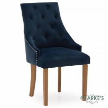 Hobbs Midnight Velvet Dining Chair, Natural Legs
