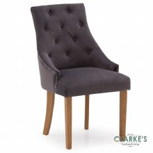 Hobbs Mist Velvet Dining Chair, Natural Legs