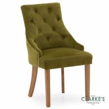 Hobbs Moss Velvet Dining Chair, Natural Legs