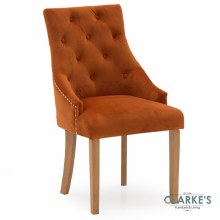 Hobbs Pumpkin Velvet Dining Chair, Natural Legs