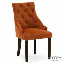 Hobbs Pumpkin Velvet Dining Chair, Wenge Legs