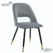 Bursa Velvet Dining Chair Light Grey | FREE Nationwide Delivery