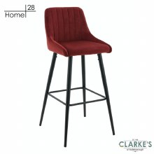 Madrid Velvet Bar Stool Crimson Red