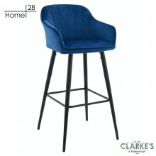 Milan Velvet Bar Stool Blue