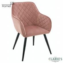 Vienna Velvet Dining / Accet Chair Blush Pink