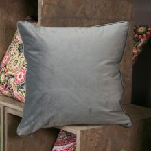 Velvet Grey Piped Cushion