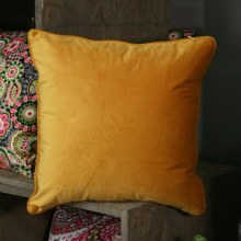 Velvet Orange Piped Cushion