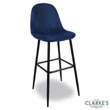 Inoui Velvet Bar Stool Blue