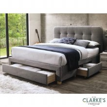 Jamie 4ft6 Double Bed Frame with Drawers