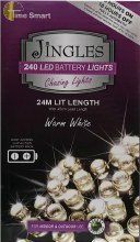 Jingles 240 LED (24m) Christmas Warm White Battery Lights