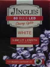 Jingles 80 LED (3.6m) Christmas White Chasing Lights