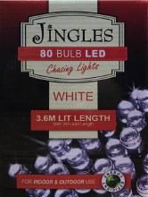 Jingles 80 LED (3.6m) Christmas White Chasing Lights