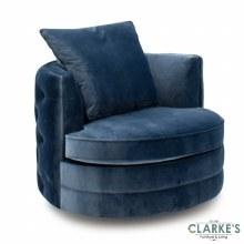 Jools Bleu buttoned velvet swivel chair