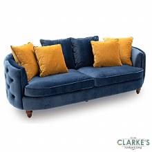 Jools Bleu buttoned velvet 3 seater sofa