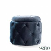 Jools Bleu buttoned velvet footstool