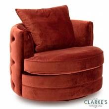 Jools Copper buttoned velvet swivel chair