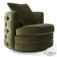 Jools Olive buttoned velvet swivel chair