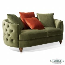 Jools Olive buttoned velvet 3 seater sofa
