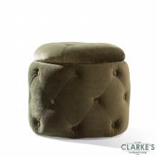 Jools Olive buttoned velvet footstool