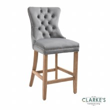 Kacey grey velvet bar stool