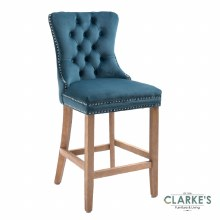 Kacey teal velvet bar stool