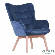 Kayla Velvet Accent Chair Skipper Blue