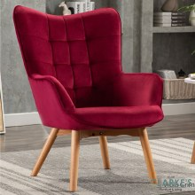 Kayla Velvet Accent Chair Viola Crimson