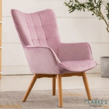 Kayla Velvet Accent Chair Pink