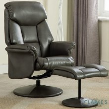 Kenmare Recliner Chair with Foot Stool Grey