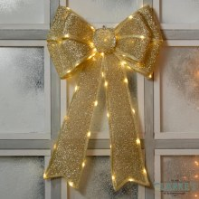LED In-Lit Gold Christmas Bow Decoration Battery Operated 40 x 60cm