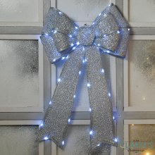 LED In-Lit Silver Christmas Bow Decoration Battery Operated 40 x 60cm