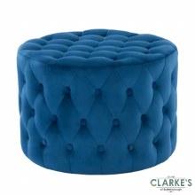Lobo Deep Buttoned Velvet Footstool Blue