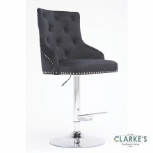 Lois black velvet bar stool